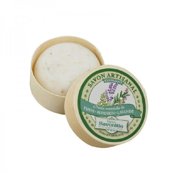 Lavendel-Thymian-Rosmarin-Seife in Spanschachtel, geöffnet