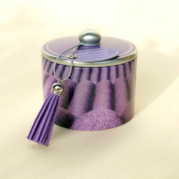 Dose mit Lavendelbonbons (Motiv Lavendelfeld)